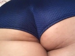 Mom Latina in Blue Sexy Shorts