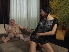 Very hot passionate brunette college girl giving old man pleasure