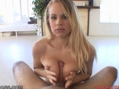 Golden-Haired Britney Juvenile taking sticky facial spunk flow