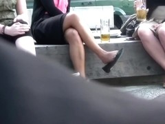 Candid Brunette Feet & Legs Shoeplay Dangling