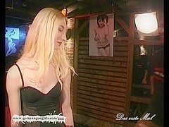 Sexy blondie gets her pretty face covered with cum