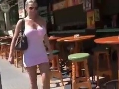 sexy blonde exhib in the street with facial