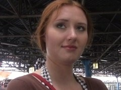 Redhead amateur with big tits flashes her boobs and squirts in a public place