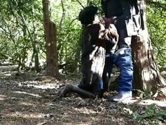 Hot milf in fur and thigh boots sucks stranger in park