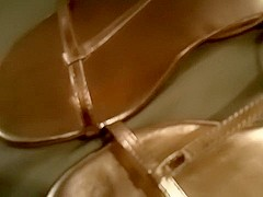 gold sandals palying