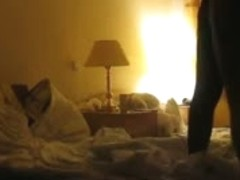 Blonde with a nice ass in a Doggy style and Glowing triangle porno on a bed