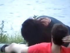Voyeur tapes a fat girl having sex with her bf near the lake