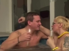 Blonde Shorthair-BBW-Milf with Glasses fucked by the Pool