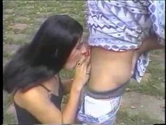 Sucking and fucking session outdoor