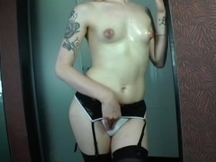Tranny Nicole Bastiani gets her ass rammed hard and facialized