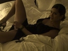 Sunny Leone in Black Dress Dildo Masturbation Video