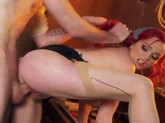 Danny D gets a crazy blowjob from a redhead bitch named Jasmine James