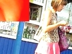Spying hawt up petticoat strap view at the bus stop