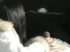 Cute girl sucks her bf in a public toilet and masturbates on a bench outside