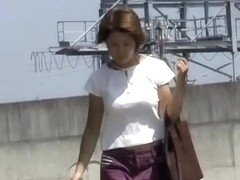 Hot Asian milf gets a nasty skirt sharking on a sunny day.