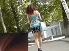 Delightful brunette hair in outdoor upskirt vid