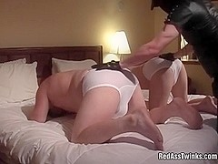 Hot gay threesome with handjob and spanking