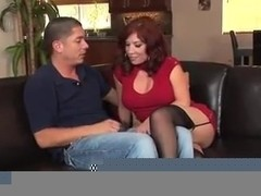 Sexy redhead milf in stockings fucks really good