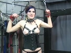 Delicious youthful blindfolded dark brown in corset is tortured by Dom Len