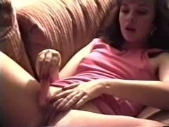 Vintage mother I'd like to fuck Masturbates Bushy Muff With Carrot