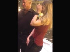 Young Blond in heels with plump ass & old man.