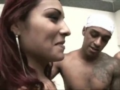 Hot latina tranny jizzed in gangbang