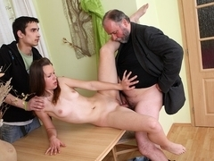 Older man enjoys sweet pussy and fucks girl's bold pussy full of cum - OldGoesYoung