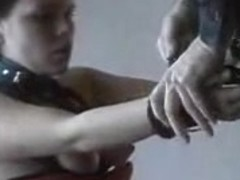 Slave girl with black hair tied and used by master