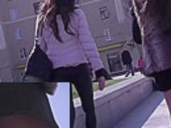 Sexy babe was walking with gf and caught on upskirt cam