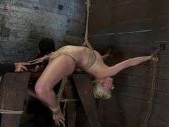 Extremely bent backwards, her neck tied so she can't move, her face brutally fucked while cumming!