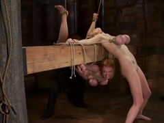 2 girls, massive tits, bound, 1 suspended, 1 neck tied down & arched.Both made to brutally cum!