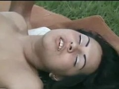 Hot tranny in outdoor gangbang