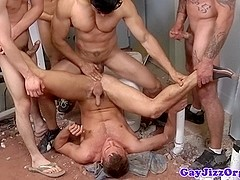 Group of hunks on ass drill session