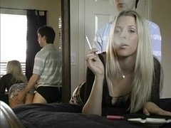 Exotic smoking clip with blonde, couple scenes 1