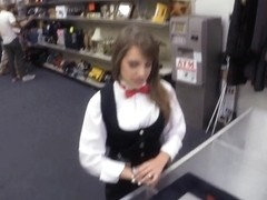 Pretty card dealer pawns her tablet and fucked by pawnkeeper