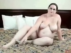 Fat woman of my friend masturbates in her bedroom