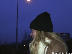 Blonde takes money for fifteen mins sex in public