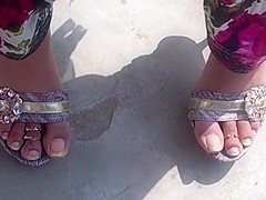 Candid feet in mules