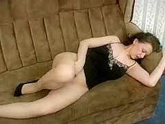HOT mature masturbates in pantyhose lingerie