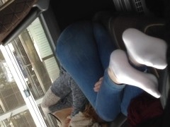 Girl in Bus feet ass German