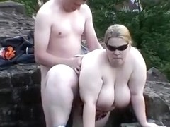Dogging in the park. just dumping a load in her bbw pussy.