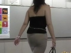 Sharking video with hot Asian tits being exposed in a metro