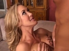 Blonde milf Brandi Love pleases Rocco with blow and tit job
