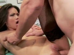 Amazing asian whore with absolutely gorgeous eyes sucks a huge cock!