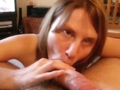 Brunette sucks her bf pov on the sofa and swallows