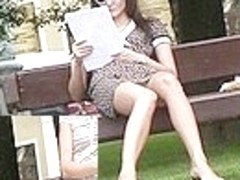 Triple upskirt on a bench