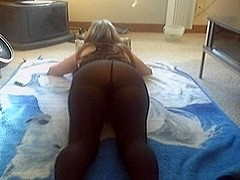 Chubby blonde wife lost a bet