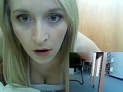 Girl Publicly Playing With Herself In Library