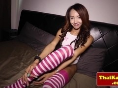 Busty ladyboy jerking while in stockings
