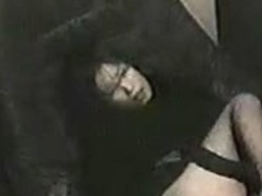 Japanese woman toying her holes on hidden cam in video booth